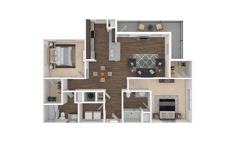 B2 2 bedroom 2 bath 1218 square feet