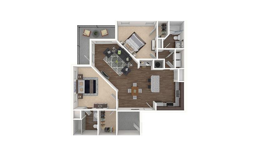 B3 2 bedroom 2 bath 1280 square feet
