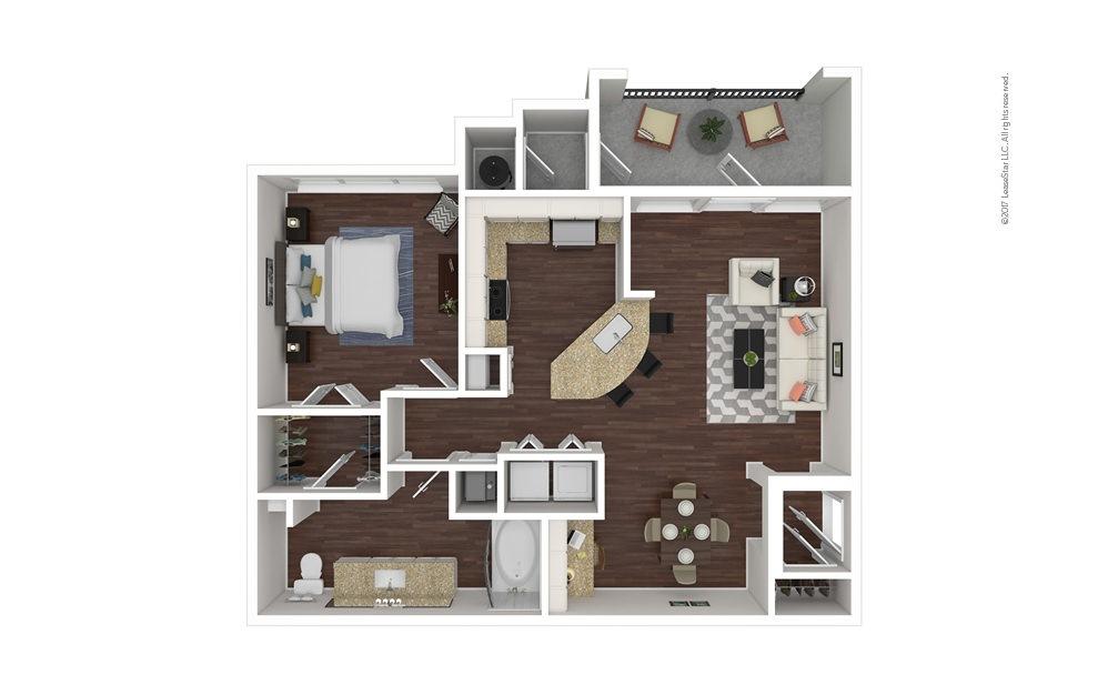 A2 1 bedroom 1 bath 840 square feet