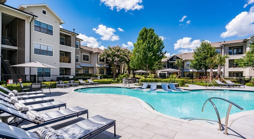 Our Bluff Springs apartment pool with sun deck