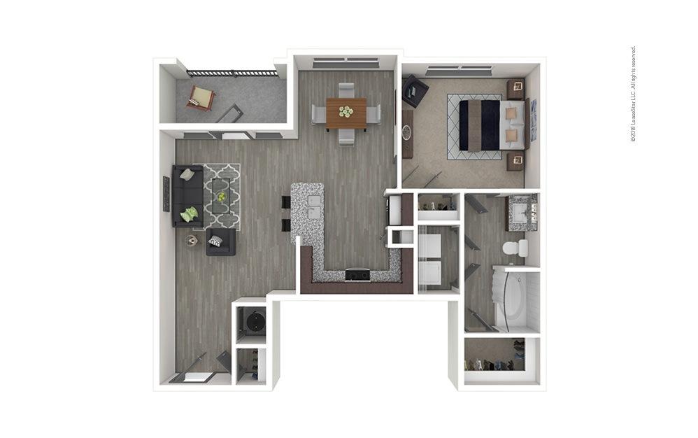 A3 1 bedroom 1 bath 835 square feet