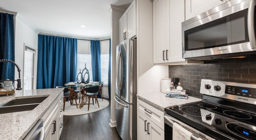 Energy-Efficient, Stainless steel appliances at our modern apartments in Houston