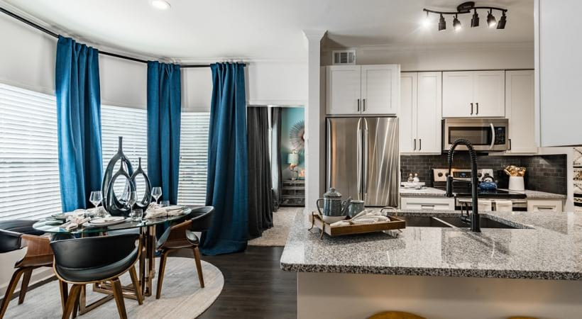 Modern lighting at the kitchen and dining area of our Copperfield apartments