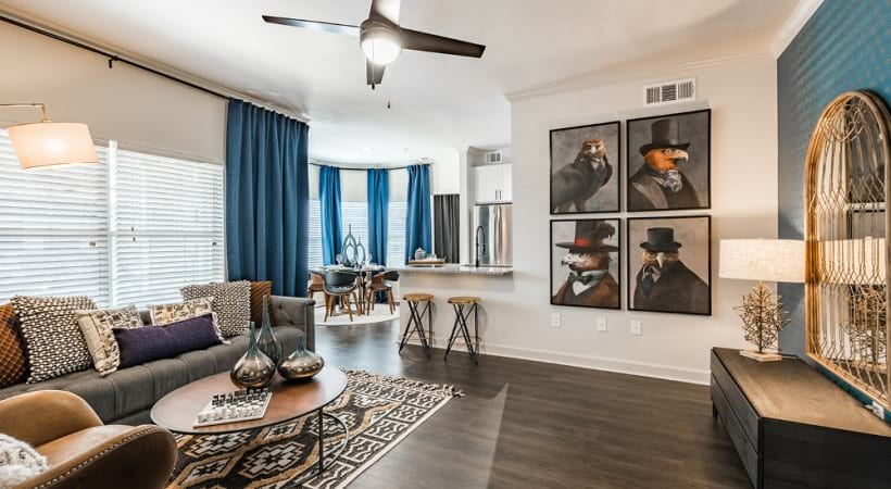 Ceiling fan and wood-style flooring at Cortland Copperleaf