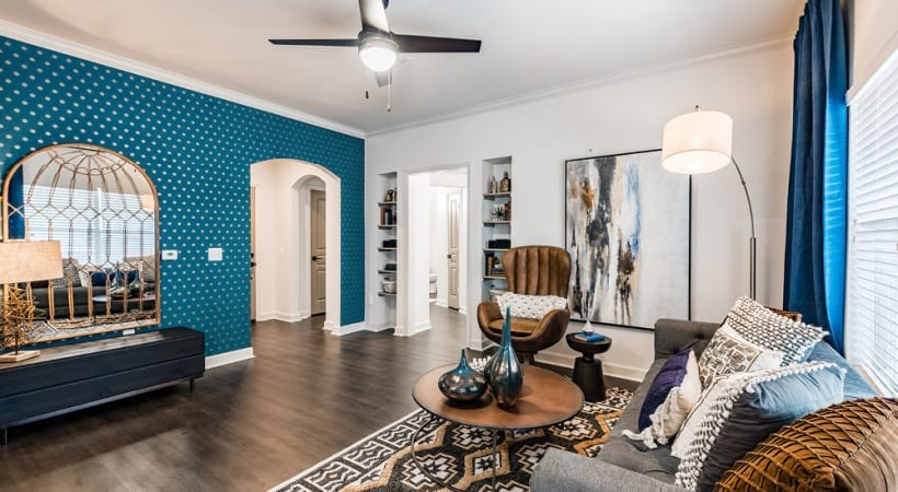 Nine-foot ceilings and crown molding at our spacious apartments for rent in Cypress, TX
