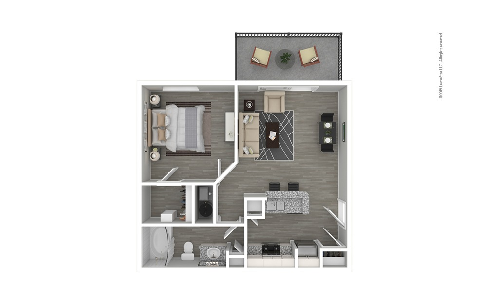 Botanical Premium 1 bedroom 1 bath 609 square feet