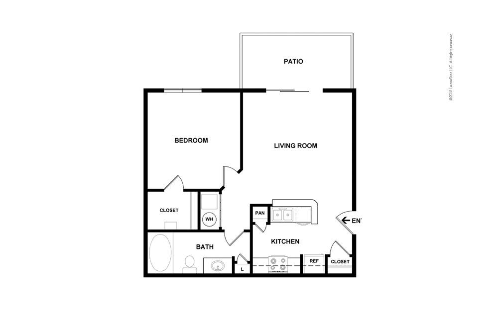 Botanical Premium 1 bedroom 1 bath 609 square feet (2)