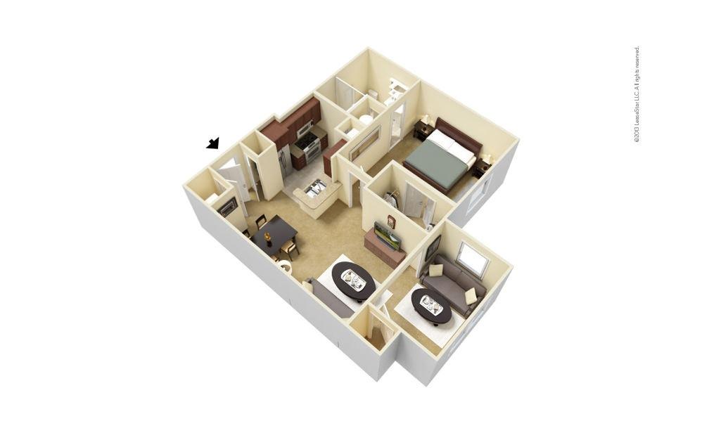 Overton with Sunroom 1 bedroom 1 bath 747 square feet