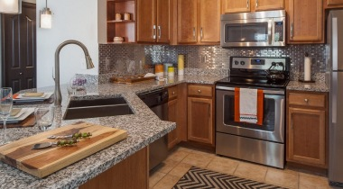 Stainless steel appliances at our modern apartments near Benbrook