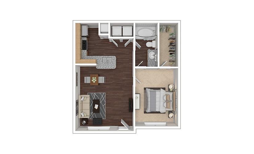 A1 1 bedroom 1 bath 655 square feet