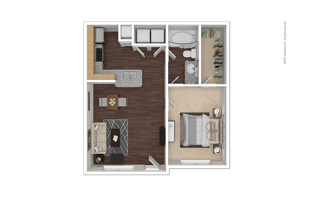A1 1 bedroom 1 bath 655 square feet