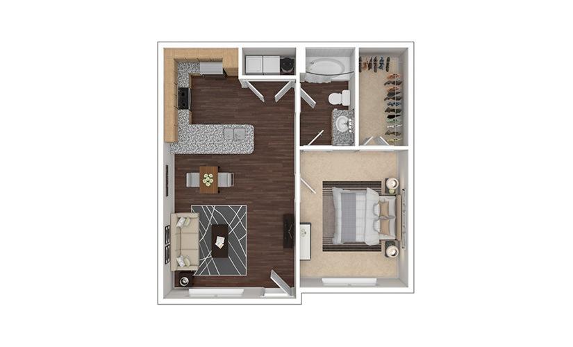 A1aR 1 bedroom 1 bath 655 square feet