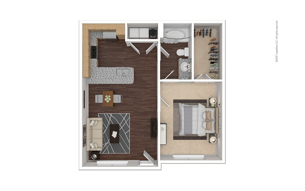 A1aR 1 bedroom 1 bath 655 square feet