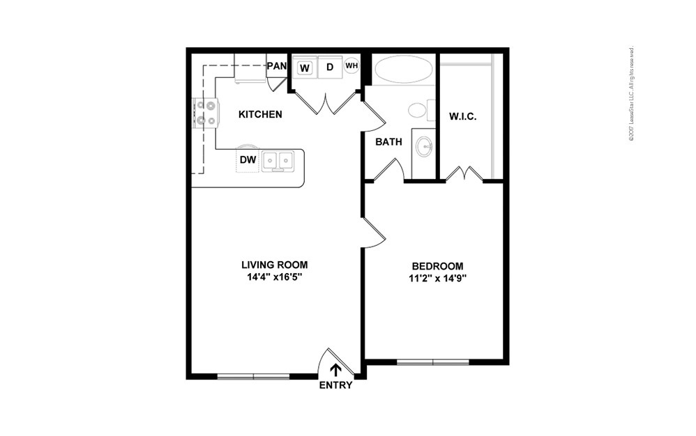A1aR 1 bedroom 1 bath 655 square feet (2)