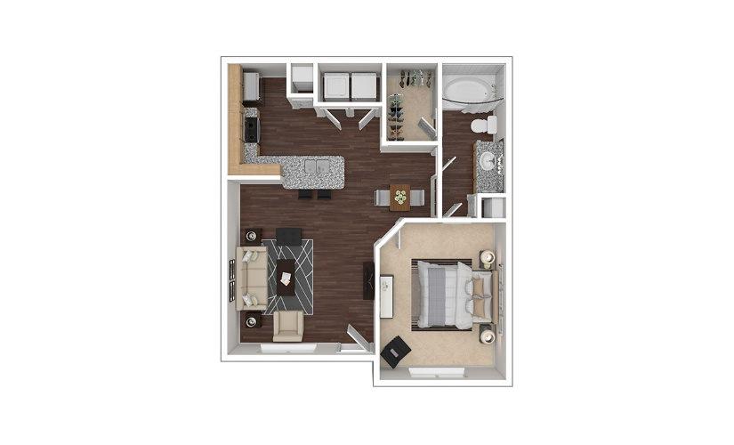 A2 1 bedroom 1 bath 736 square feet