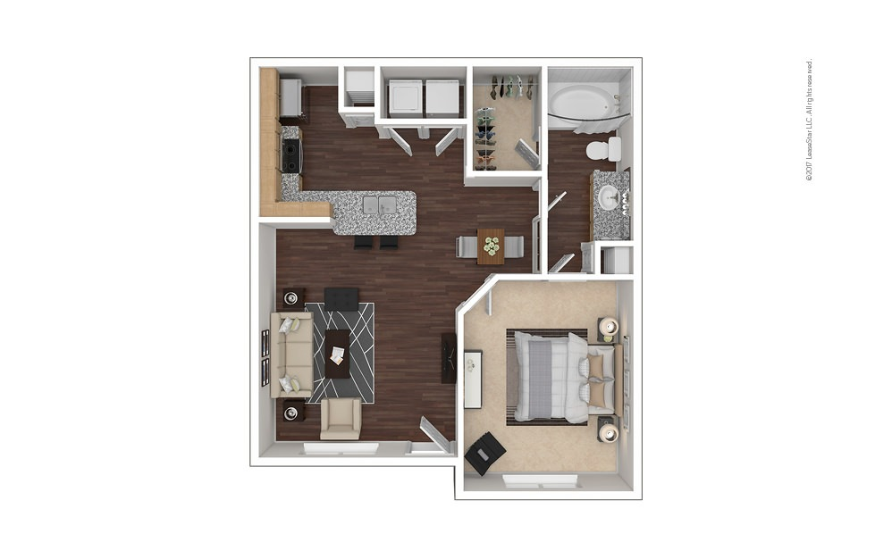 A2 1 bedroom 1 bath 736 square feet