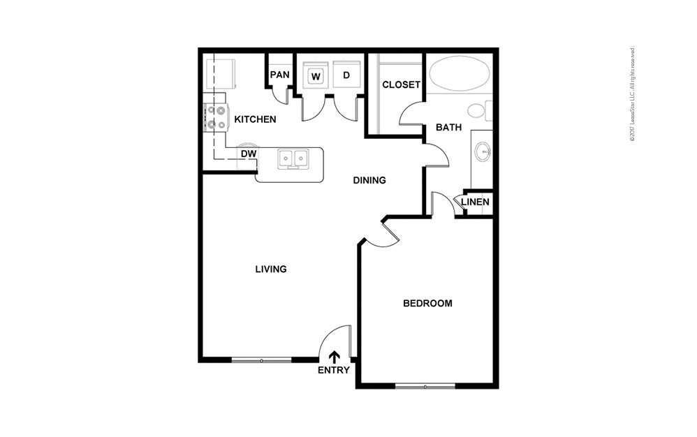 A2 1 bedroom 1 bath 736 square feet (2)