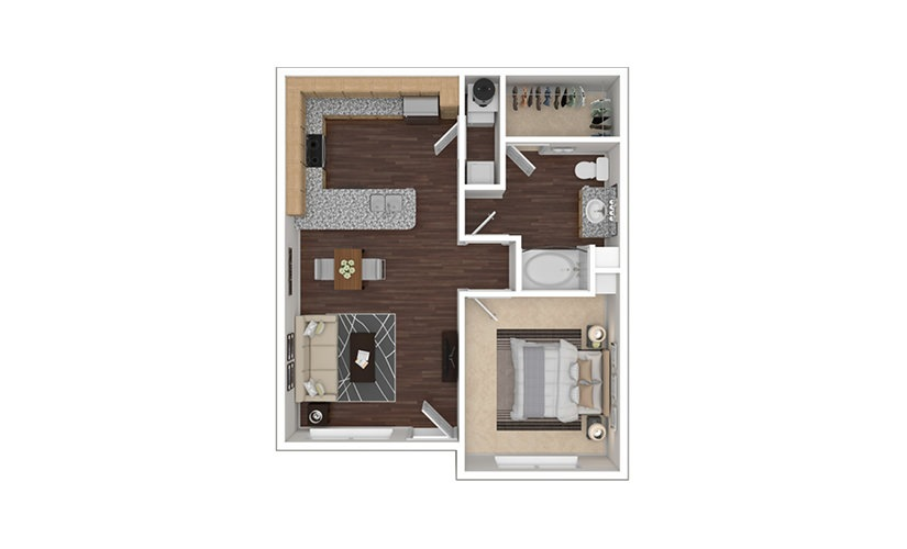 A2aR 1 bedroom 1 bath 736 square feet