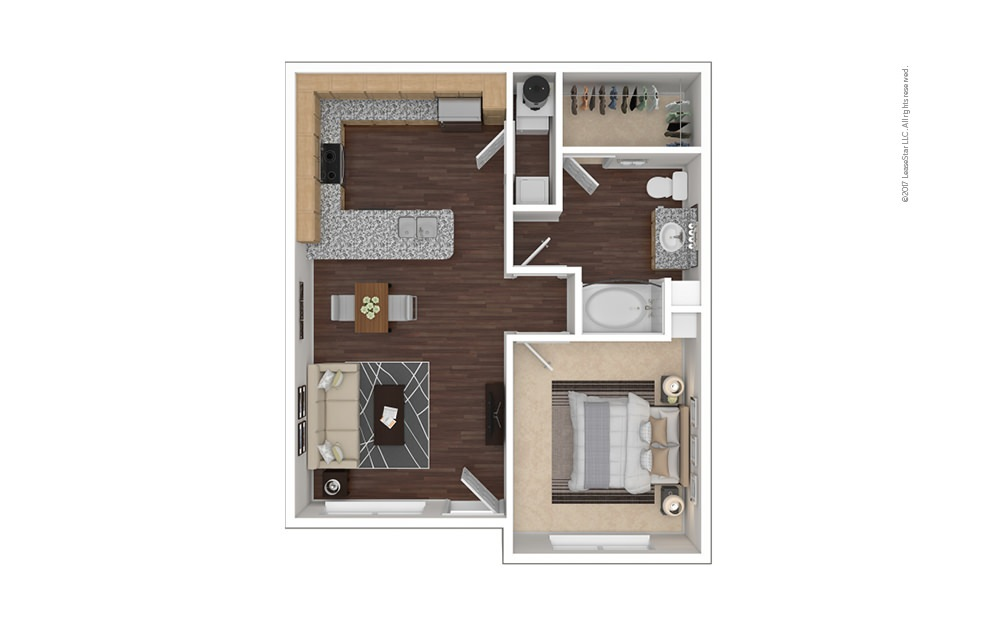 A2aR 1 bedroom 1 bath 736 square feet