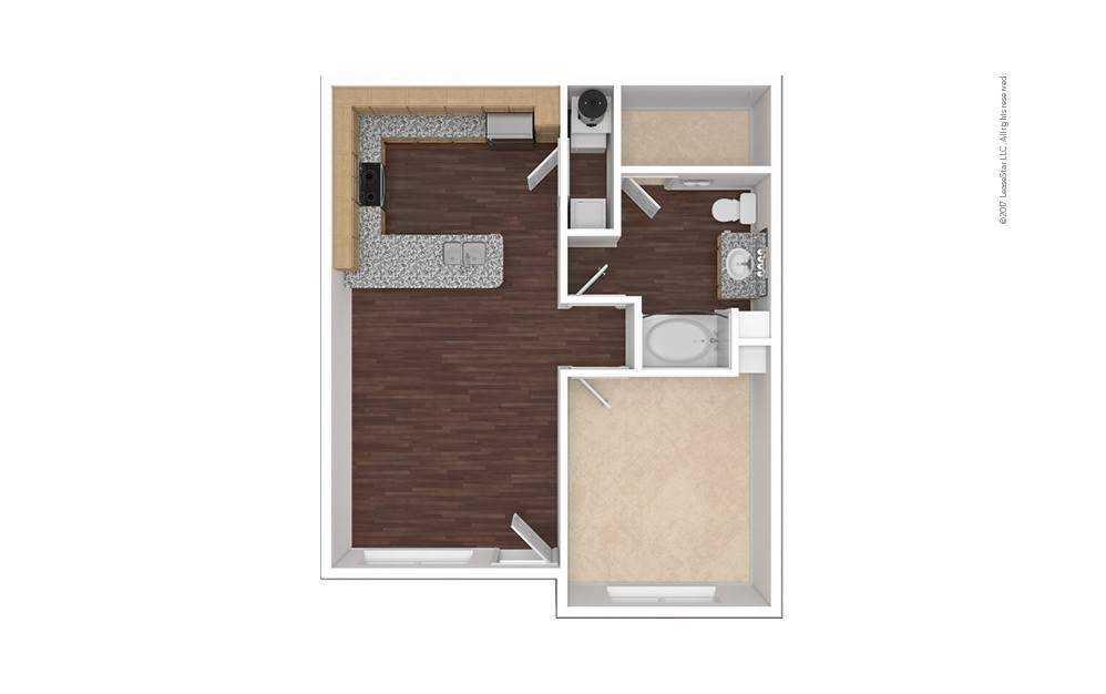 A2aR 1 bedroom 1 bath 736 square feet (1)