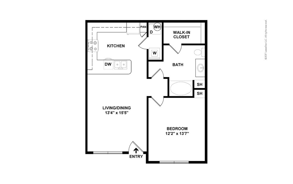 A2aR 1 bedroom 1 bath 736 square feet (2)