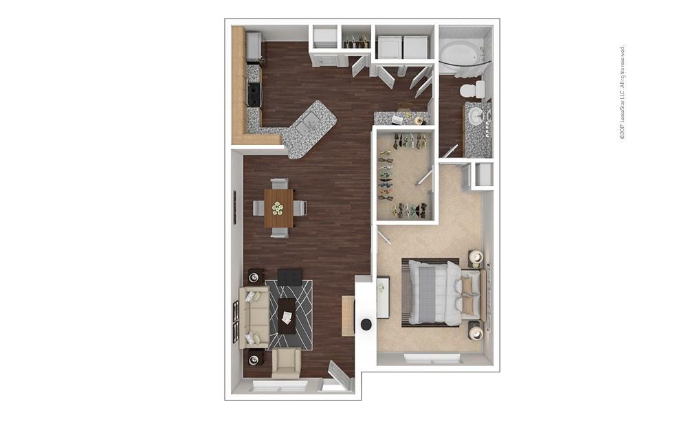 A3 1 bedroom 1 bath 854 square feet