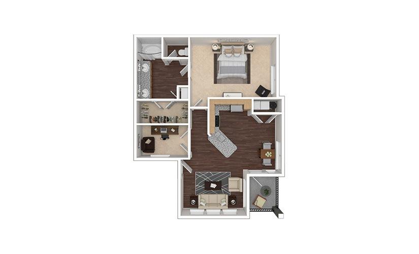 A4aR 1 bedroom 1 bath 929 square feet
