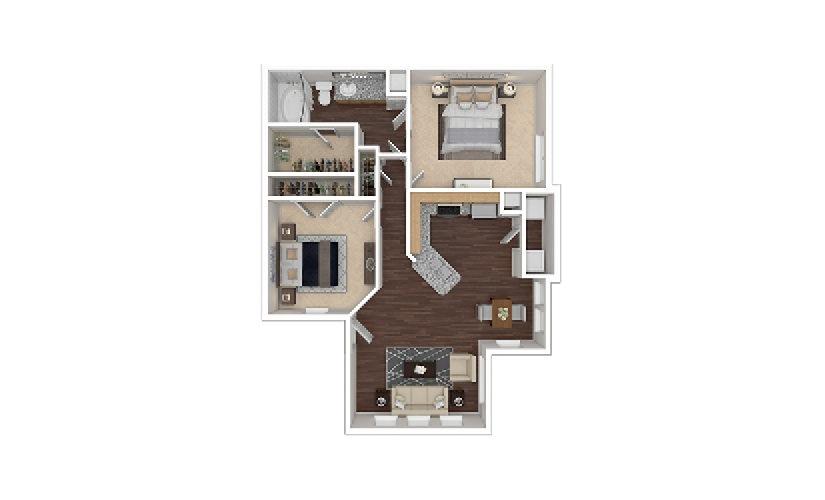 B1 2 bedroom 1 bath 922 square feet