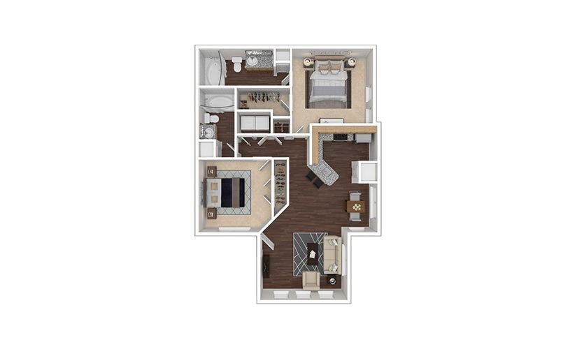 B2 2 bedroom 2 bath 1047 square feet