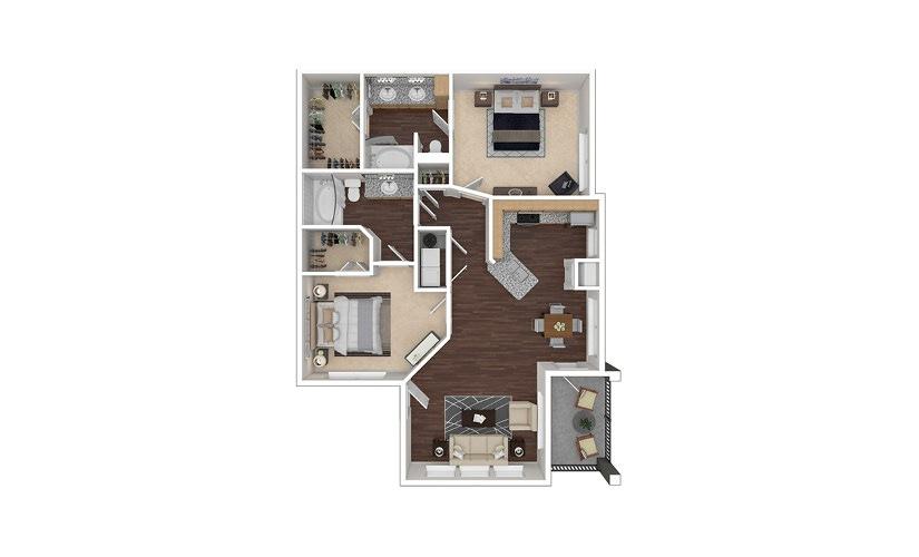 B2aR 2 bedroom 2 bath 1057 square feet