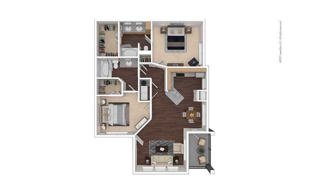 B2aR 2 bedroom 2 bath 1057 square feet
