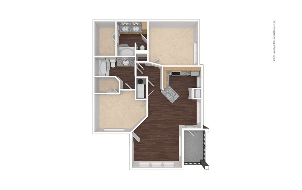 B2aR 2 bedroom 2 bath 1057 square feet (1)