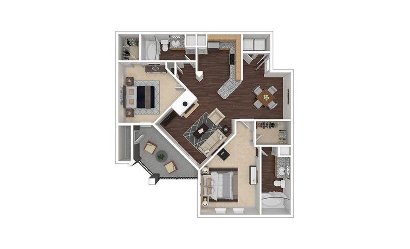 B3 2 bedroom 2 bath 1128 square feet