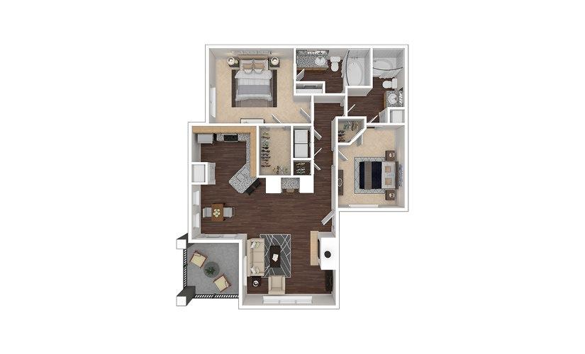 B4 2 bedroom 2 bath 1224 square feet