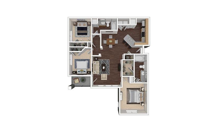 C1 3 bedroom 2 bath 1281 square feet