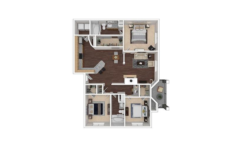 C2 3 bedroom 2 bath 1370 square feet
