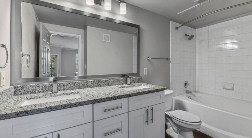 Double sink vanity at our apartment bathroom