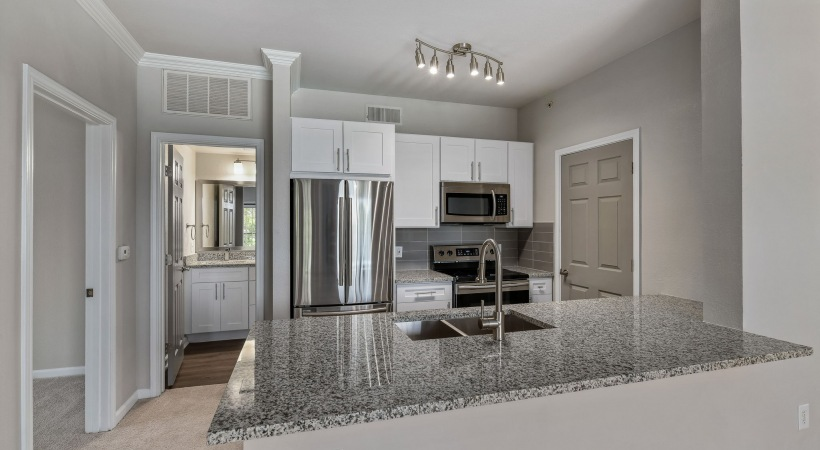 Modern apartments with stainless steel appliances