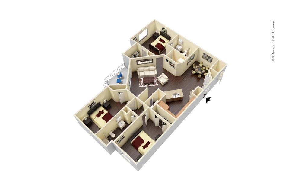 Executive 3 bedroom 2 bath 1282 square feet