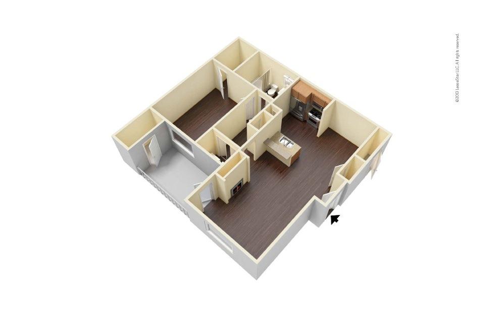 Oak 1 bedroom 1 bath 689 square feet (1)
