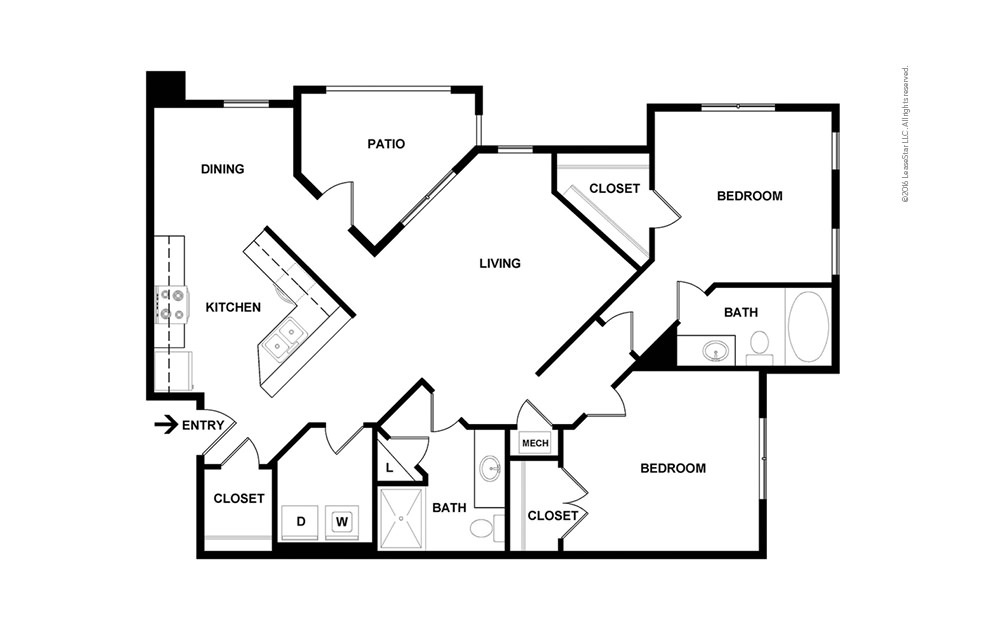 Davidson 2 bedroom 2 bath 1019 square feet (2)