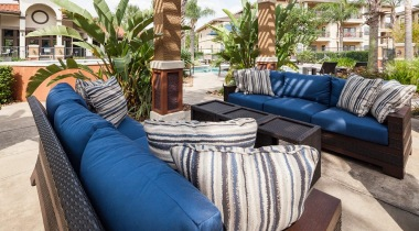 Outdoor lounge area at Cortland Copper Springs
