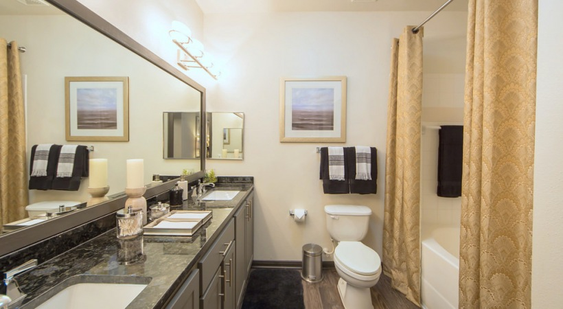 Double Vanities in bathroom at apartments in houston