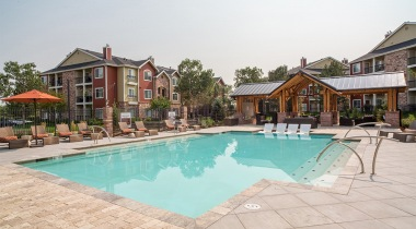 Our Cherry Creek apartment pool with heated spa