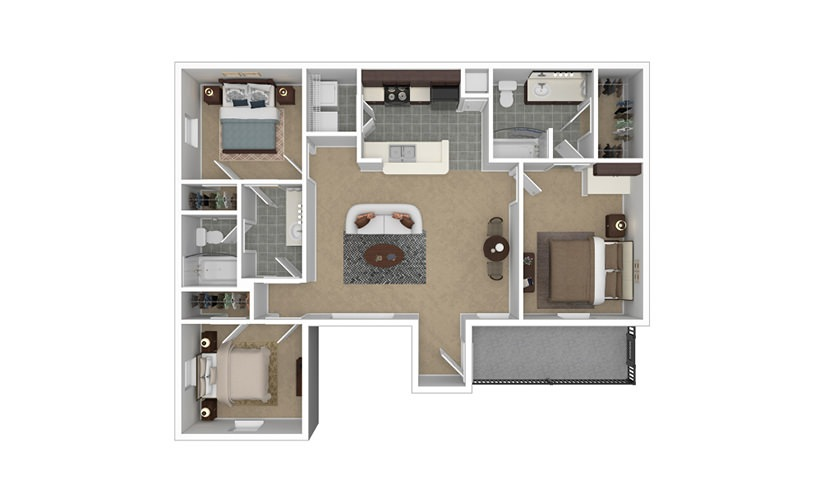 Addison 3 bedroom 2 bath 1184 square feet