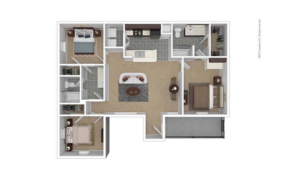 Addison 3 bedroom 2 bath 1184 square feet