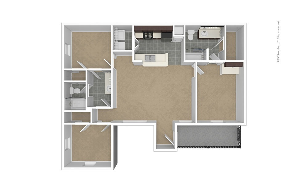 Addison 3 bedroom 2 bath 1184 square feet (1)