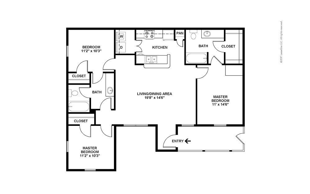 Addison 3 bedroom 2 bath 1184 square feet (2)