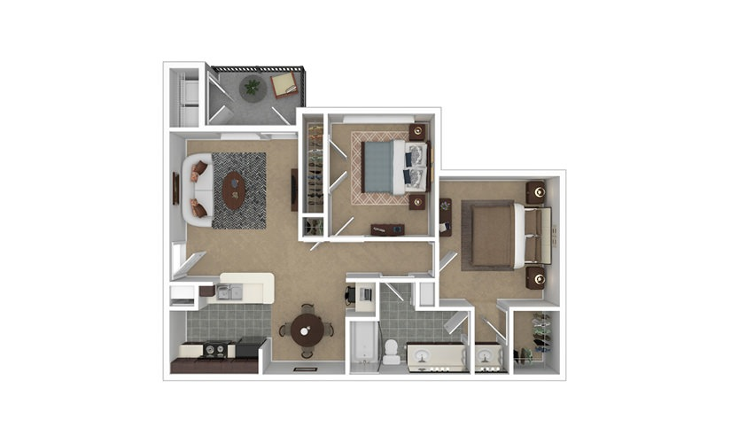 Tiera 2 bedroom 1 bath 881 square feet