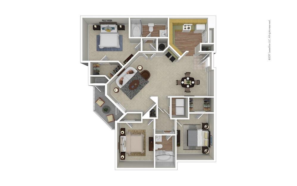 Watermark 3 bedroom 2 bath 1365 square feet